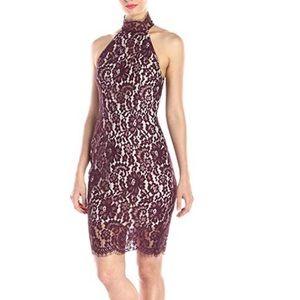 NWT Deep Burgundy Lace Open Back Halter Dress